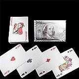 CXYY Naipes creativos Impermeables Lavables PVC Esmerilado Espesado Poker Oro lámina Naipes 54PCS Fun Party Puzzle Juegos,F