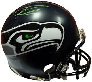 Russell Wilson Signed Seattle Seahawks Replica Mini Helmet In Green RW - Autographed NFL Football Helmets