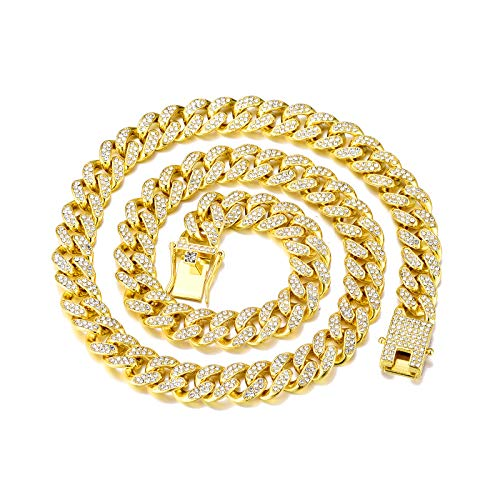 FEEL STYLE Mens Cuban Link Chain Gold Silver Bling Miami Cuban Necklace Diamond Chain for Men Iced Out Hip Hop Jewelry