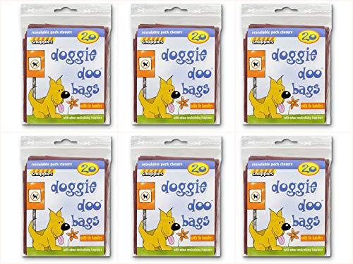 Snappies Tidy-Up Doggie Doo Bolsas con lazo Tiradores 20por paquete (Pack de 6)