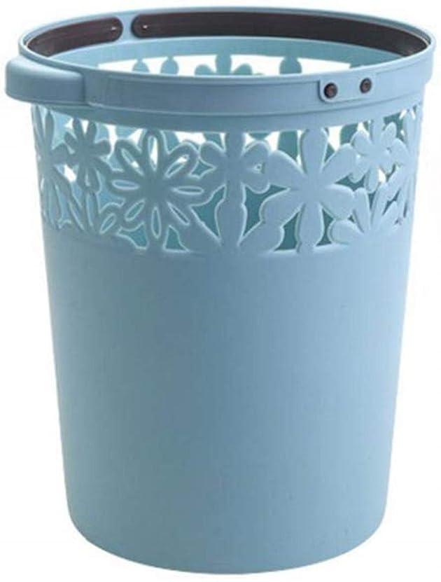 熱意嘆願覚醒JJJJD オフィス、キッチンやバスルーム、ポリプロピレンハンドル付きミニ古紙ビン (Color : Blue)