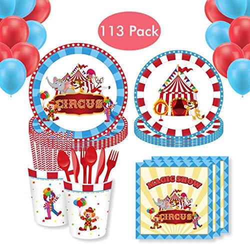Amycute 113-teiliges Gebutstag Party Set - Zirkus Teller Becher Servietten Tischdeko für Geburtstag Kindergeburtstag Mottoparty, Tischdeko Partygeschirr Set für 8 Personen.