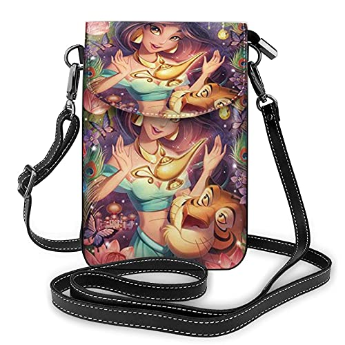 XCNGG Borsa piccola per cellulare Women's Small Crossbody Bag with Shoulder Strap,Princess Jasmine Magic Shine Small Cell Phone Purse Wallet with Credit Card Slots
