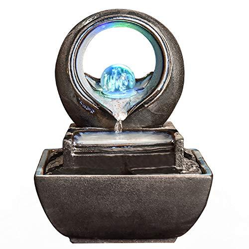 YHDP Zen Fuente De Agua De Escritorio,Interior Feng Shui Decoración Waterscape Fuente,Creativo...