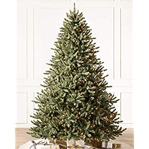 Balsam Hill 7.5ft Premium Pre-Lit Artificial Christmas Tree Classic Blue Spruce with Clear Incandescent Lights Includes Storage Bag, and Fluffing Gloves