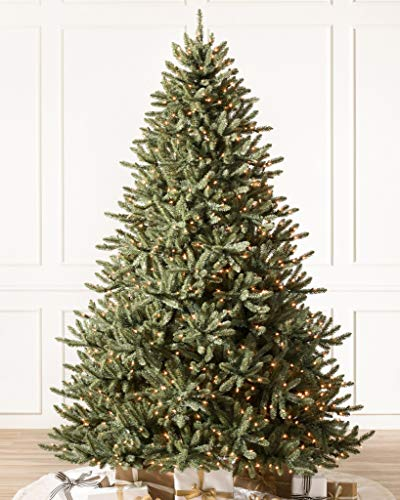 Balsam Hill 7.5ft Premium Pre-Lit Artificial Christmas Tree Classic Blue Spruce with Clear Incandescent Lights, Storage Bag, and Fluffing Gloves