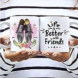 2 Freundinnen Blumen Memory Tasse | Personalisiertes Geschenk für die beste Freundin | Maßgeschneidertes Kunstwerk von 2 Freundinnen mit Blumen