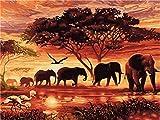 Gofission - Pintura por números, elefantes al atardecer, árboles de animales, 40,6 x 50,8 cm, lienzo para manualidades (2 unidades, sin marco)