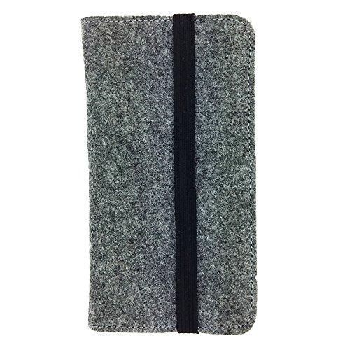 handy-point Universell Organizer für Smartphone Tasche aus Filz Filztasche Filzhülle Hülle Schutzhülle mit Kartenfach für Samsung, iPhone, Huawei (5,6-6,4 Zoll max 18 x 9,3 m, Grau)