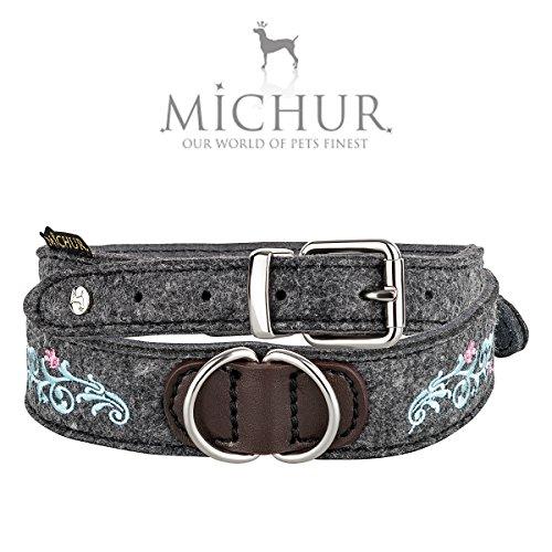 MICHUR Zenzi BLAU, Hundehalsband Filz, Art Leder, Hund Halsband Grau, Blau mit Stickerei, in verschiedenen Größen erhältlich