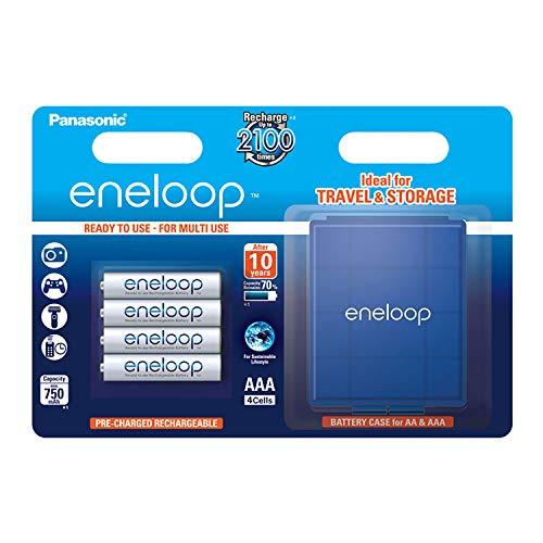 Panasonic eneloop, Ready-to-Use Ni-MH Akku, AAA Micro, 4er Pack inkl. blaue Akkubox, min. 750 mAh, 2100 Ladezyklen, starke Leistung und geringe Selbstentladung, wiederaufladbare Akku Batterie