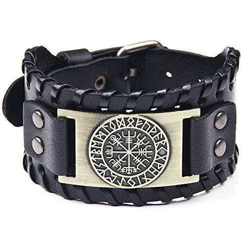 Damen und Herren Lederarmband Pirat Classic Elements mit Vintage Kompass Muster Armband