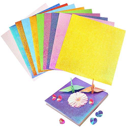 YunBey 100 Piezas Papel de Origami Papel par Origami Colores Papel para Manualidades para la Artesanía de Bricolaje y Álbum de Recortes(10 colores)