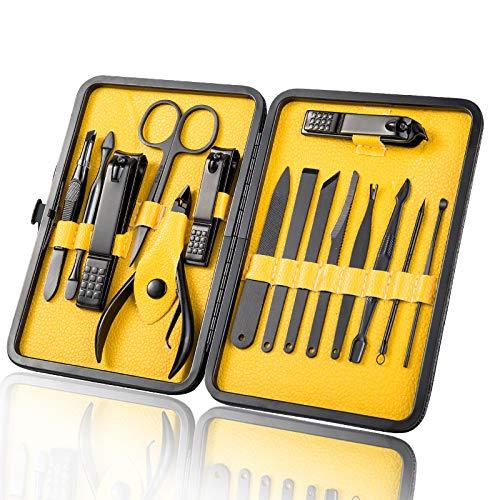 OMILEK Nail Clipper Set van 18 sets van tools met inbegrip van hand, gezicht en voet, reizen draagbare pak 18 Geel
