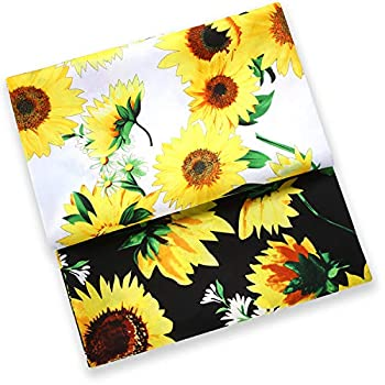 2 Pieces 1 Yards Long 58 Inch Wide Sunflowers Helianthus Fabric Printed on Petal Floral Fabric with Detailed Petals and Leaves Floral Design Fabric  Black and White
