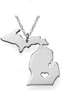 Michigan Map Necklace State Shaped Pendant Stainless Steel Map Concise Patriot with 19