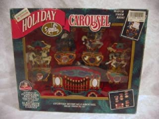 Mr. Christmas Holiday Carousel Horses Lighted Musical Set of 4 Plays 21 Carols