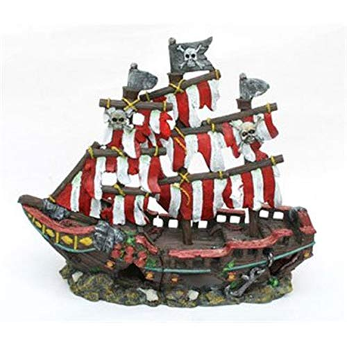 Penn Plax Striped Sail Shipwreck Aquarium Decoration Ornament Colorful Red and White Design 12 Inch (Four Pack)