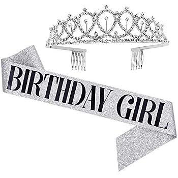 Birthday Girl Sash & Rhinestone Tiara Set - Birthday Gifts Birthday Sash for Women Fun Party Favors Birthday Party Supplies  Glitter Silver/Black