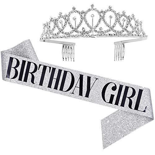 Birthday Girl Sash & Rhinestone Tiara Set - Birthday Gifts Birthday Sash for Women Fun Party Favors Birthday Party Supplies (Glitter Silver/Black)