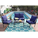 PHI VILLA 4 Piece Patio Sets, Outdoor Metal Furniture Patio Conversation Set Clearance with Padded Deep Seating Sofa, 1 Loveseat, 2 Armrest Sofa Chairs, 1 Coffee Table & 4 Free Pillow, Navy Blue
