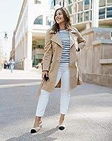 The Drop Sierra T-shirt à manches longues et col ras-du-cou, coupe ajustée, White/Navy Stripe, XS