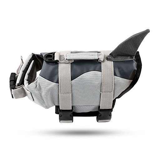 deenkk Small Dog Life Jacket Coat Vest Saver Safety Swimsuit Preserver with Rescue Handle for Small Middle Large Dogs (M, Shark Style)