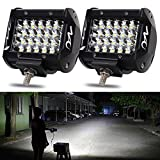 naoevo LED Pods Light Bar 4 Inch, 144W 14400LM White Light Work Driving Fog Off Road Light, Quad Row Spot Beam Waterproof LED Cubes Lights for Truck Jeep ATV UTV SUV Boat, 2 Pack
