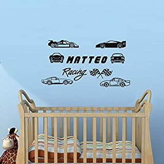 Sets of Racing Car Personalized Name Vinyl Wall Decal Kids Boy Room Art Sticker Bedroom Wallpaper Poster Decor DIY WW-172