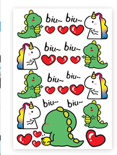 YUHANG Mini Unicornio Amor Pegatinas de Dinosaurio Pegatinas de Motocicleta eléctrica Casco Decorativo calcomanías de patrón pequeño