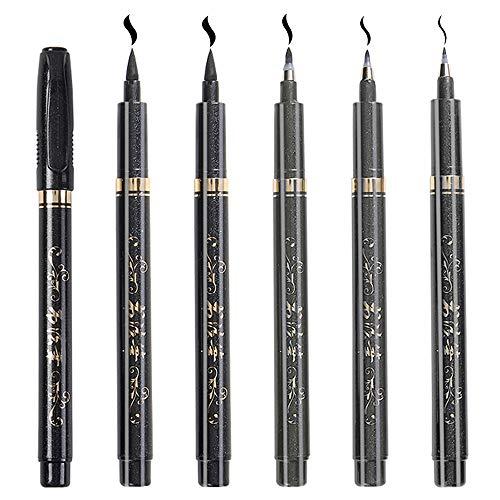 Kalligraphie Stift, 6 Stück Schwarze Fasermaler Pinsel Stift, 4 Größen, für Anfänger Tagebuch, Unterschrift, Schriftzug