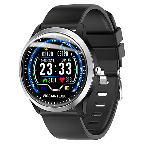 Vicsainteck Smartwatch, Reloj Inteligente con Pulsómetro Sueño para Hombre Mujer niños, Reloj Deportivo Contador de Caloría Pulsómetros Podómetro para Android iOS