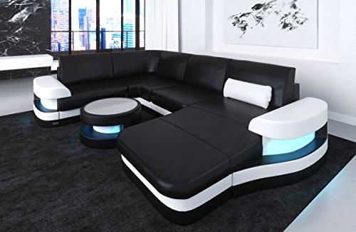 Lederen interieur Modena U-vormige zwarte en witte bank bank hoek bank lederen bank designerbank lederen bank hoekbank bank bank