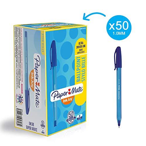 Papermate S0957130 Inkjoy 100 Cap Penna a Sfera con Cappuccio e Punta Media da 1.0 mm, Scatola da 50, Blu