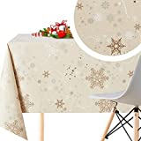 KP Home Mantel Hule Navidad Creme Rectangular Estilo Copo de Nieve de PVC Fácil de Limpiar - 200 x...