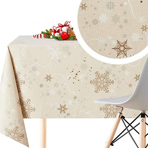Tovaglia Natale Plastificata Rettangolare - 200 x 140 cm - Disegno Natalizia Cuciture Cerata PVC Di...