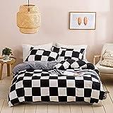 N/C Biancheria da letto 135 x 200 cm, in microfibra, 2 pezzi, motivo geometrico, motivo a quadri, biancheria da letto reversibile nero bianco moderno + 1 federa 80 x 80 cm