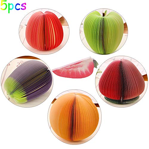 Memo Notes 3D Fruit Shape Non-Sticky, Cute DIY Memo Pads, Kawaii Colorful Fruit Stationery, Creative Table Decoration Post Notepads, Pack of 5 (Red Apple/Green Apple/Eggplant/Strawberry/Orange)