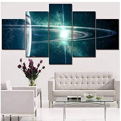 Cuadros modulares Pintura impresa en lienzo Decoración para el hogar Ciencia ficción Anillo planetario Póster Arte moderno de la pared de la sala de estar 40x60 cmx2 40x80 cmx2 40x100 cmSin marco