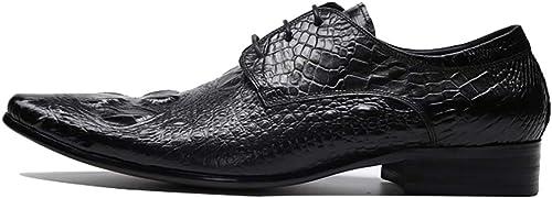 LYMYY zapatos de hombre de cuero formal trabajo de negocios confort encaje-up zapatos casuales cocodrilo patrón puntiagudo pelo estilista zapatos zapatos de vestir formales