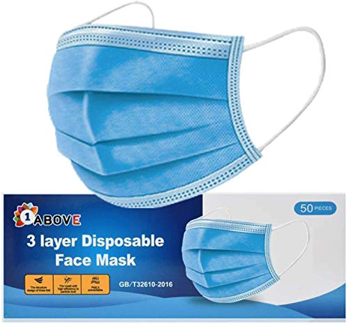 50 PCS -3-Layer Protective Disposable Face Masks, Breathable Face Mask,High Filterability, Sutaible For Sensitive Skin (Blue)