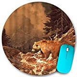 VAMIX Round Mouse Pad,Grizzly Bear Rocky Mountains Wildlife Animal Canyon Forest Nature Outdoors,Non-Slip Rubber Office Home Mouse Pads Small 7.9x7.9 in Gaming Mousemate