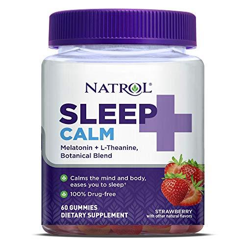 Natrol Sleep+ Calm, Melatonin and L-Theanine, with Botancial Blend, 100% Drug-Free Sleep Aid Gummies, Gummy, 60 Count