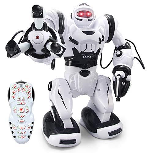 YARMOSHI Telecomando Robot Intelligente Giocattolo Grande Calvin Corpo in Movimento Flessibile Turbinii, Danze. 38.6x32x16 cm. Regalo Divertente per Ragazze e Ragazzi. età 5+, Bianco/Nero.