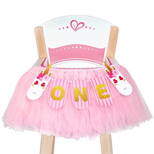 Unomor Erster Geburtstag Mädchen Deko Hochstuhl Dekoration Einhorn Ein Banner Tutu Rock für 1. Geburtstag Party Zubehör (Pink)