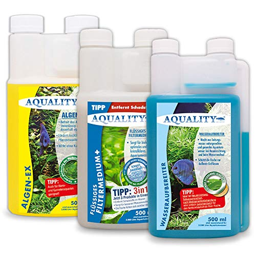AQUALITY Aquarium 3er Starter- & Pflege-Sparset (Algenvernichter, Wasseraufbereiter, Filtermedium - Perfekter Start mit Allen wichtigen Produkten), Set-Größe:Set 500
