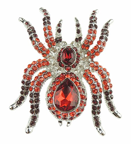 Glamour Girlz Ladies Sparkly Large Crystal Diamante Two Tone Vintage Spider Brooch Gift Boxed (Red)