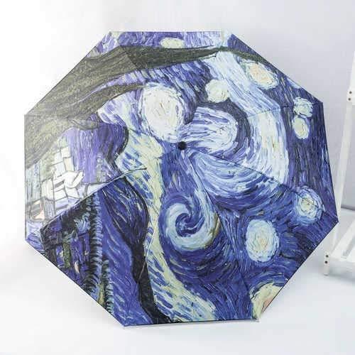 Nueva Van Gogh Pintura al óleo Paraguas Llune Lluvia Mujer Marca Paraguas Artes Creativas Parasol Mujer Sol y Sombrillas de Lluvia (Color : Manual A)