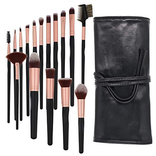 Lot de 16 pinceaux de maquillage en poils synthétiques de qualité supérieure pour fond de teint, fard à joues, contour des cernes, fard à lèvres, fard à paupières, pinceaux de maquillage avec étui