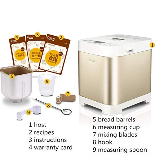 LFDHSF Bread Machine, Compact Fast Breadmaker, Fully Automatic Touch, 450W, LCD Display, Three Burnt Colors, 18 Menus, Appointment Time, Suitable for 1-4 People